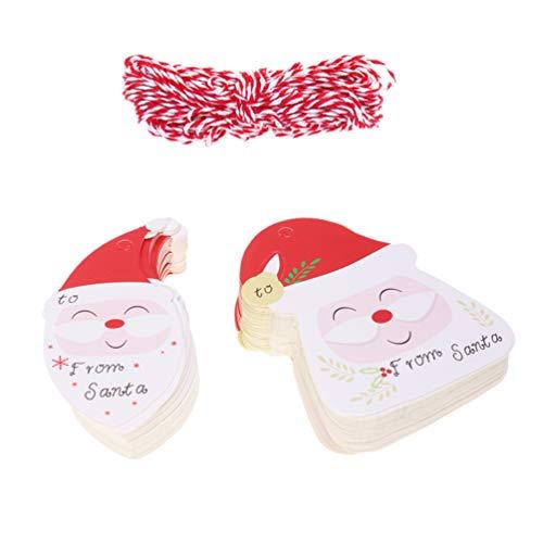 VOSAREA 200Pcs Weihnachtsgeschenkanhänger Kraftpapier Santa Claus mit Hängendem Seil Weihnachtsanhänger Umwickeln Etiketten Handwerk Präsentiert Verpackung Weihnachtsfeier Favor