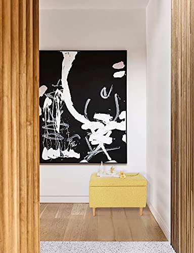 Sitzbank mit Stauraum Aufbewahrungsbox aus Leinen Sitzhocker und Deckel mit Holzfüßen Truhenbank Stoffbezug Gepolsterte Betthocker Modern Design für Wohnzimmer Büro Schlafzimmer Flur Gelb - 6