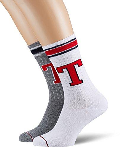 Tommy Hilfiger Herren MEN TH PATCH 2P Socken, Grau (Middle Grey Melange 758), 43/46 (Herstellergröße: 043) (2er Pack)