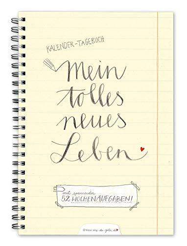 Terminkalender A5 - Mein tolles neues Leben, Wochenkalender mit 52 Aufgaben, Taschenkalender & Terminplaner, Kalender immerwährend mit Jahresübersicht für 2020, Spiralbindung, Gelb