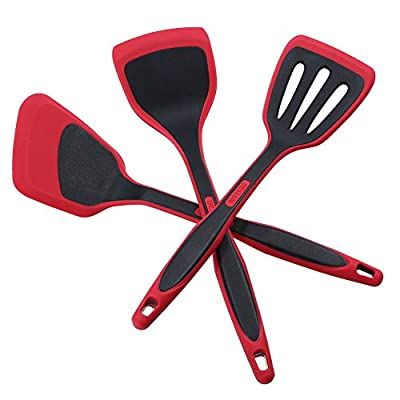 DESLON BPA Free & Food Grade Silicone Spatulas - High Heat Resistant Non-Stick Silicone Rubber Spatula for Cooking, Baking and Mixing-?Spatula Three-piece set - Red)