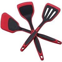 DESLON Flexible 3-Piece Heat-Resistant Non-Stick Silicone Turner Spatula Set (Red)