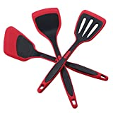 DESLON BPA Free & Food Grade Silicone Spatulas - High Heat Resistant Non-Stick Silicone Rubber Spatula for Cooking, Baking and Mixing-(Spatula Three-piece set - Red)