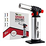 Kitchen Torch, blow torch - Refillable Butane Torch With Safety Lock & Adjustable Flame + Fuel gauge...