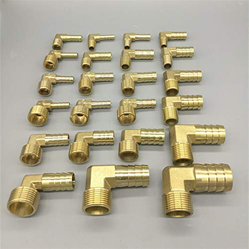 Xuulan Xianglaa-Water Pipe Connector, Brass Hose Barb Joint Adapter Elbow 6mm 8mm 10mm 12mm 16mm to 1/4 1/8 1/2 3/8', Hardware Accessories (Size : 10mm Barb, Thread Specification : 3/8')
