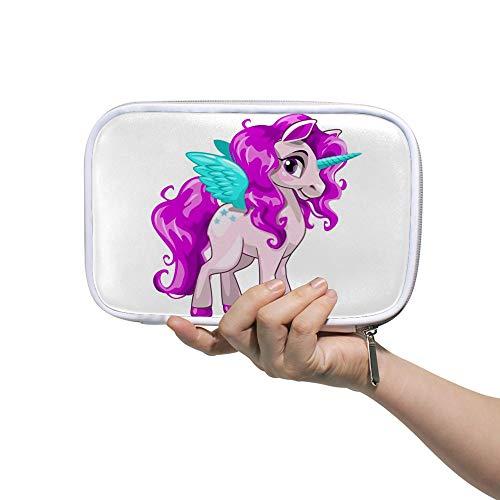 Estuche para lápices de cheyong con diseño de cabeza de unicornio rosa y cuerno de melena arcoíris de gran capacidad, bolsa de cosméticos, bolsa con cremallera para mujeres estudiantes, 14 x 23 cm, color Color2. 5.5x9 inch