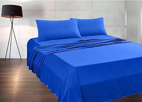 MADE IN ITALY - Completo Lenzuola + 2 Federe per letto Matrimoniale (sotto con angoli 170x190 H 20) in puro cotone 100% made in Italy by Il Filo (blu royal, matrimoniale)