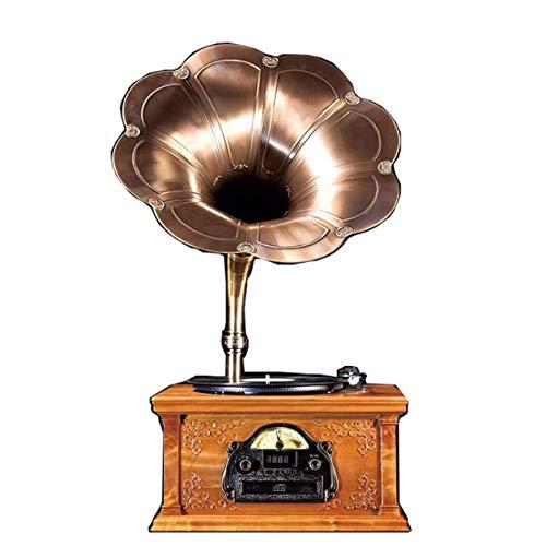 FSJD Gramófono Estilo clásico Retro Tocadiscos de Vinilo Soporte Disco de Vinilo Bluetooth 33/45/78 Velocidad USB Radio Reproductor de CD Golden Phoebe Material (Color: Marrón)