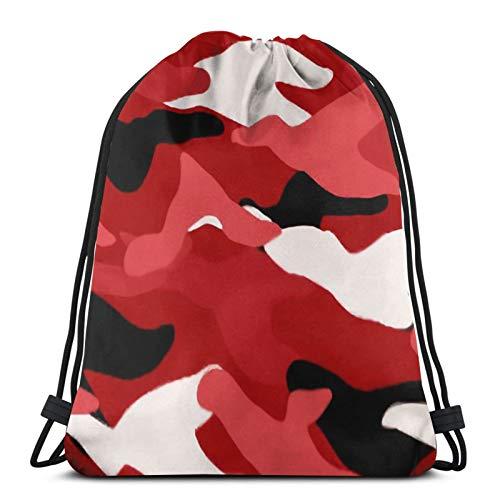 Mochila con cordón de camuflaje rojo ligero para gimnasio, viajes, yoga, casual, bolsa de hombro para senderismo, natación, playa