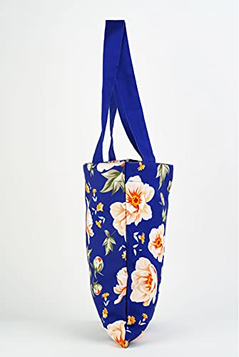 PlanetEarth Designer Large Canvas Tote Bags for Women | Travel Bag for Women, College Handbags for Girls Stylish | Shoulder Bag for Women with Zip for Shopping, Beach, Office, Grocery (Color : Blue Floral, Size: 13