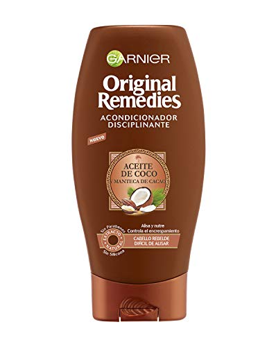 Garnier Original Remedies Champú Disciplinante con Aceite de Coco y Manteca de Cacao, para Pelo Rebelde y Difícil de Alisar - 250 ml