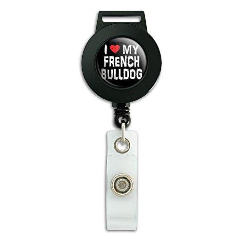 I Love My French Bulldog Stylish Lanyard Retractable Reel Badge ID Card Holder