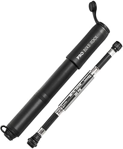 PRO BIKE TOOL Bike Pump with Gauge Fits Presta and Schrader - Accurate Inflation - Mini Bicycle Tire Pump for Road, Mountain and BMX Bikes, High Pressure 100 PSI, Includes Mount Kit