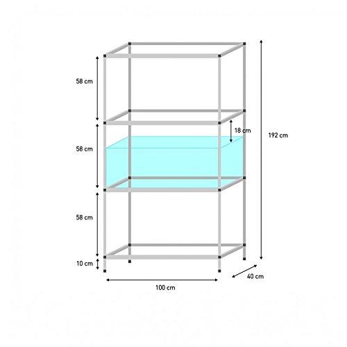 Terra-Natur.eu Aluminium Steck-Regale Verschiedene Größen (Regal für 100 x 40 x 40 cm Aquarien)