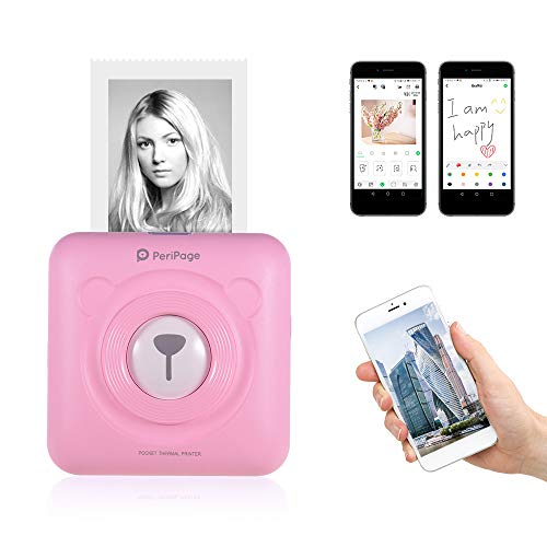 Aibecy mini-fotoprinter, GOOJPRT periPage mini-pocket thermische printer, draadloos, BT beeld, foto, M, printer, met USB-kabel, ondersteuning voor smartphone en Android iOS Roze