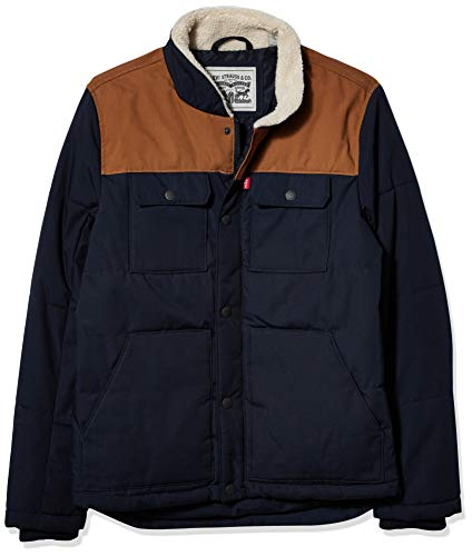 Levi's Men's Quilted Mixed Media Shirttail Work wear Puffer Jacket, Worker Brown/Navy, Medium