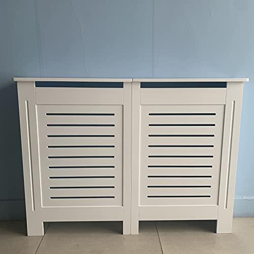 White Wooden Horizontal Slanted Radiator Cover Grill Cabinet Panel Shelf Hallway Furniture In 3 Sizes (Medium)