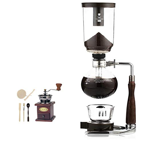 Manual Coffee Grinder -Siphon Cafetera Set Sifón curvo Coffee Pot Set 13 * 35,5 cm (3 tazas), 13,5 * 37 cm (5 tazas) máquinas de café de vacío (color: A, tamaño: 13.5 * 37 cm (5 tazas)) Haike WTZ012