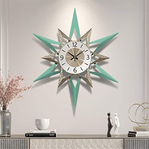 LHY NEWS Reloj De Pared Grande Salon,80Cm Reloj Mudo, Sala De Estar Decorativa para El Hogar Reloj De Cuarzo Reloj Grande En La Pared,Azul,80cm
