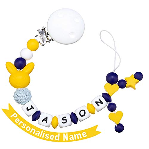 MCGMITT Schnullerkette mit Namen Jungen Maximal 9 Buchstaben Longe Personalisierte Zahnen Silikon Selber (blue and yellow)