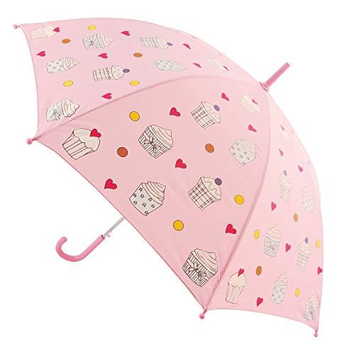 Bieco Regenschirm Kinder Ø 86 cm | Farbwechsel Kinder Regenschirme im Cupcake Design | Geeignet für Kinder 2 Jahre und Älter | Kleinkind Spielzeug | Regenschirm Taschenschirm | Kinder Sonnenschirm