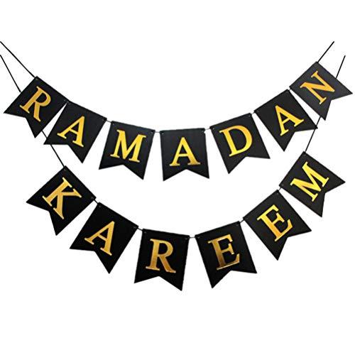 VALICLUD Eid Mubarak Banner Ramadan Kareem Bunting Hanging Islam Party Sign Garland for Ramadan Party Decorations Supplies Black