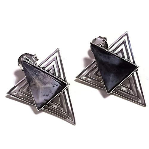 Pendientes colgantes de mariposa de ágata dendrítica bañados en plata hechos a mano