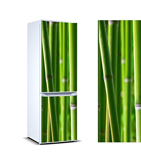 Pegatinas Vinilo para Frigorífico cañas bambú | Varias Medidas 185x70cm | Adhesivo Resistente y de Fácil Aplicación | Pegatina Adhesiva Decorativa de Diseño Elegante