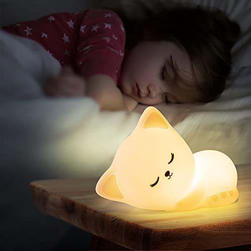 Luz Nocturna Infantil para Niños Dormir,Luz Quitamiedos Portátil Bebé Recargable,Lampara Noche InfantilUsb Pilas Anime Silicona 7 Colores Control Táctil Regalos Bebés Niñas Mamá Mujer Padre