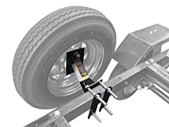 "Holds 4-lug (4 on 4"" bolt pattern) and 5-lug (5 on 4-1/2"" bolt pattern) trailer wheels and not compatible with 5 on 4-3/4"" or 5 on 5"" bolt pattern Mounts on trailer tongues up to 3 inch wide and 5 inch high Angled and raised mount design makes this i..."