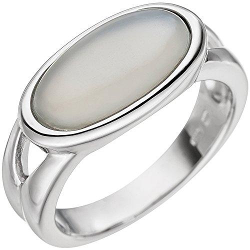 JOBO Damen Ring 585 Gold Weißgold 1 Mondstein-Cabochon Weißgoldring Mondsteinring Größe 58