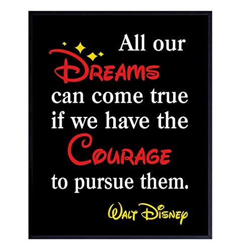 Walt Disney Quote Wall Art Decor - 8x10 Inspirational Home Decorations for Boys, Girls, Kids Bedroom, Office, Living Room - Gift for Women, Men, Mickey Mouse, Disney World Fans- UNFRAMED Poster Print