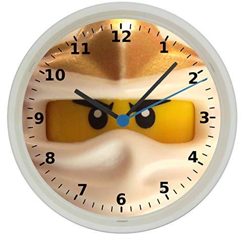 Quartz Wanduhr mit Ninjago Zane Motiv und lautlosem Uhrwerk im Gehäuse