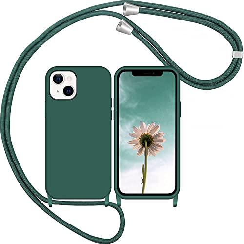 LIUKM Funda con Cuerda para iPhone 13, Carcasa de Silicona AntiChoque Suave TPU para Teléfono Móvil con Colgante Ajustable Collar Correa para el Cuello Cadena Cuerda - Verde Oscuro