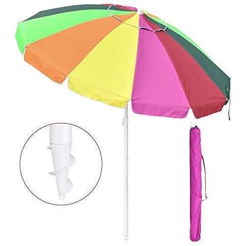 Yescom 8ft Rainbow Beach Umbrella UV Protection Sunshade with Tilt Sand Anchor Carry Bag Outdoor Camping Chair Parasol