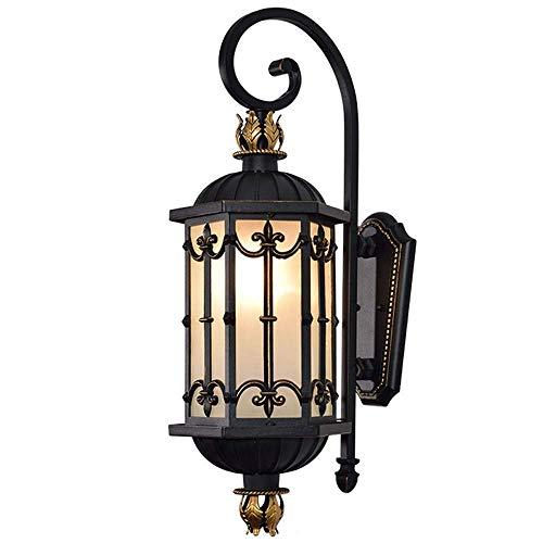 LNDDP Luz Calle Nocturna Vidrio Simple Decoración clásica E27 Linterna Creativa Iluminación Loft Impermeable Calidad Minimalista Europea Victoria Lámpara Pared Exterior para Porche