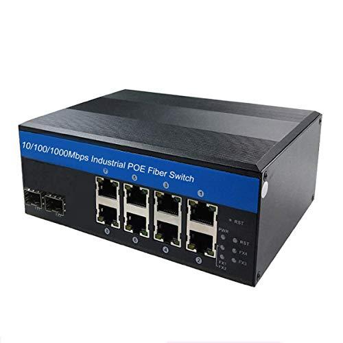 Olycom - Interruptor de 10 Puertos de alimentación a través de Ethernet (802.3AT, IP44 Gigabit Network Switch (-40°~185°F), con riel DIN Industrial endurecido (8 Puertos PoE+ y 2 SFP Uplink)