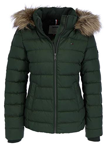 Tommy Jeans TJW Essential Hooded Daunenjacke Damen Oliv grün - L
