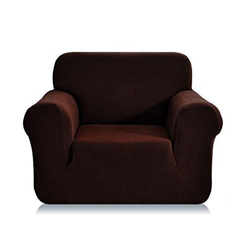 E EBETA Elastisch Sofa Überwürfe Sofabezug, Stretch Sofahusse Sofa Abdeckung Hussen für Sofa, Couch, Sessel 1 Sitzer (Kaffee, 85-115 cm)