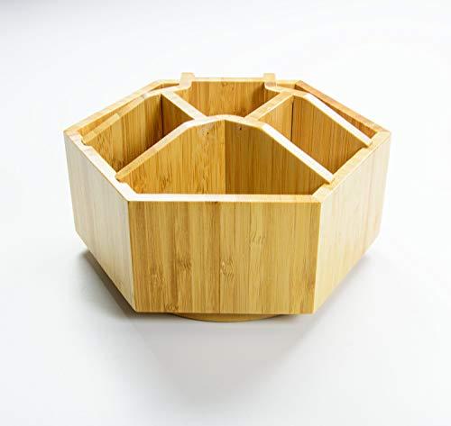 Bambus Schreibtisch Organizer - Dreh-Organizer - Rotierende Organizer Bambus - Kosmetik Organizer - Büro & Bastelbedarf Organizer Holz - Make-up Organizer - Mehrzweck-Schreibtisch