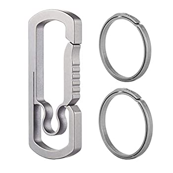 BANG TI Titanium Anti-lost Keychain Clip Hook and Quick Release Key rings Side Push Kit  C1+2K2