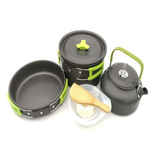 Outdoor Pot Set And Teapot Set 2 To 3 People Set Pot And Teapot Portable Cookware Set Camping Cookware Set Lightweight Camping Pots And Pans (Color : Green)