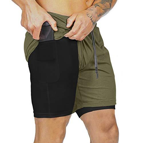 heekpek Shorts Deportivos Fitness Hombre Pantalón Corto Pantalones Cortos Deportivos para Correr...