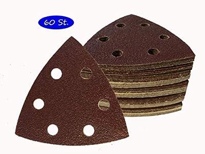SBS - Juego de 60 triángulos de lija para lijadora Delta (93 x 93 x 93 mm, grano 10 x 40/60/80/120/180/240, 6 orificios)