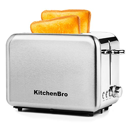 Compact Toaster 2 Slice Wide Slot Stainless Steel Housing Best Rated Prime,Classic Mini Toaster Slice 2 With Extra Wide Slot and Bagel Defrost Cancel Functions,KitchenBro Silver Toaster