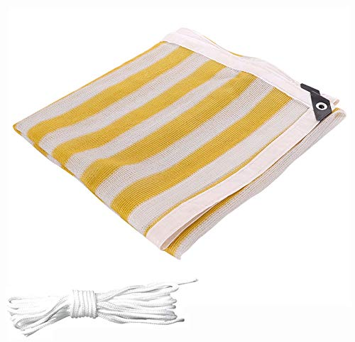WY-Tarpaulin 4x9m(13ft X 29ft) Shade Cloth with Grommets - 90% Anti-uv Shade Net Yellow and White Stripes Pergola Cover Square Sunshade Net for Patio, Deck, Gardens, Pool, Durable and Tear Resistant