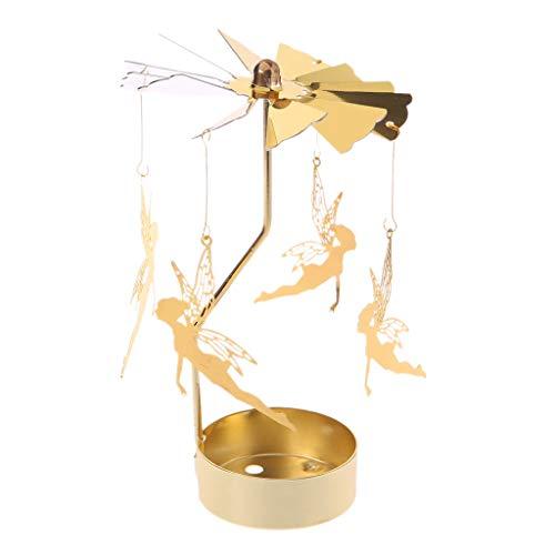 Hothap Gold Rotierender Teelichthalter aus Eisen und Glas,8x13 cm