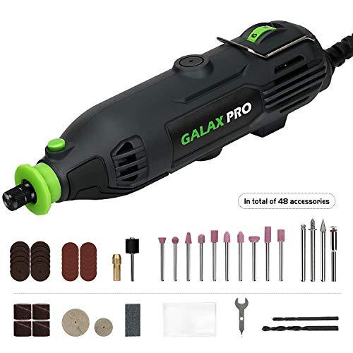 GALAX PRO 135W Mini Amoladora Eléctrica,Velocidades Ajustables 8000-33000RPM, Kit de Herramientas Rotatorias Multifunción con 48 Accesorios-Adecuado para el procesamiento y grabado de artesanías