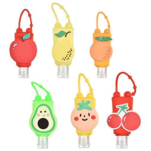 JTLB Silicone Cartoon Travel Bottle Keychain, Cartoon Hand Cleaner Holders, Detachable Hand Sanitizer Keychain Dispenser Set with Clip, Empty Portable Travel Bottles