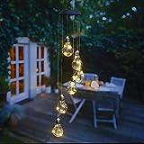 kamelshopping Solar Windspiele für Draußen, Windspiel mit Beleuchtung, warm-weiß oder Farbwechsel, Solarleuchte zum Hängen, wasserdicht, solarbetrieben (Glühbirne)